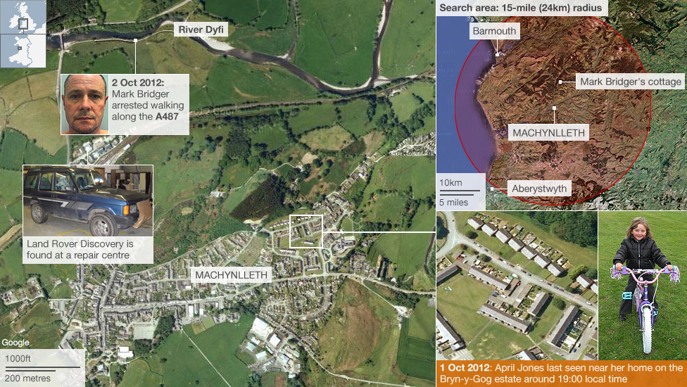 Map showing where April Jones was last seen and the location of Mark Bridger's arrest