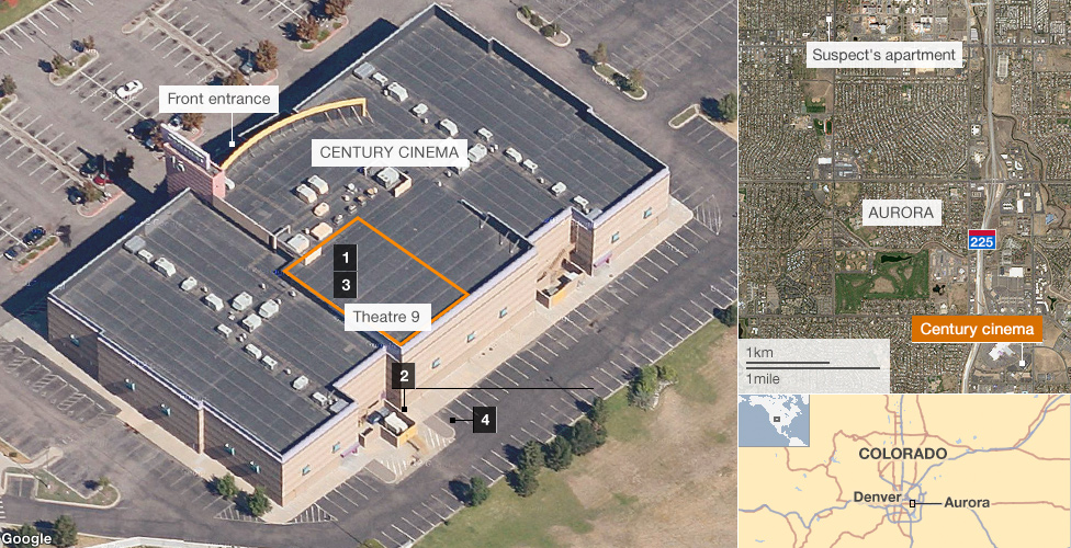 Image and map showing how the shootings in Aurora, Colorado, happened