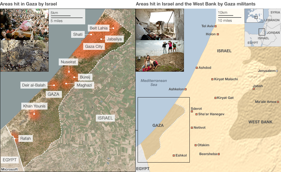 Two maps showing Gaza and Israel and areas targeted in attacks