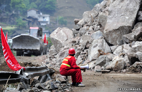 A rescuer in Sichuan province of China