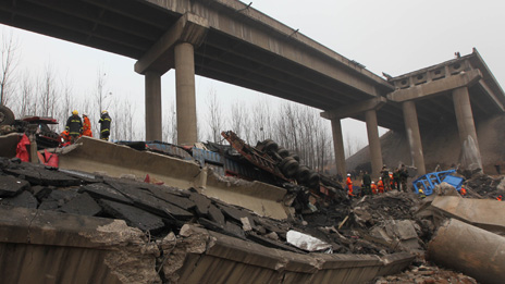 A destroyed bridge in Henan province