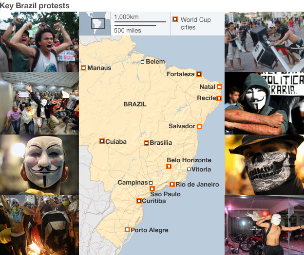 Brazil protests map