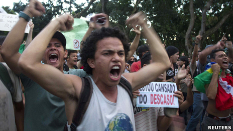 Protesters in Belem