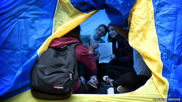 Young women in a tent