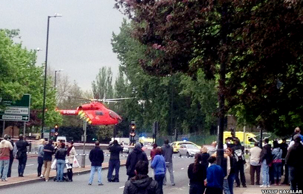 The air ambulance picks up the wounded suspects