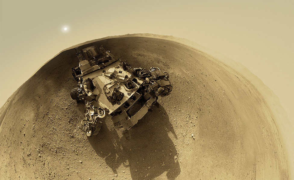 An impression of the Curiosity rover and its Gale Crater landing site, built from a range of image sources