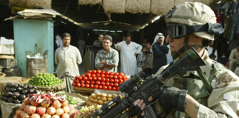 Introduction image: Soldier in a market