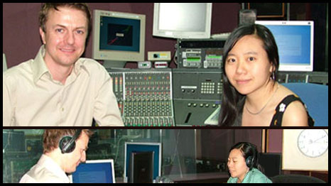 BBC Producer John Escolme in the studio with author Xiaolu Guo