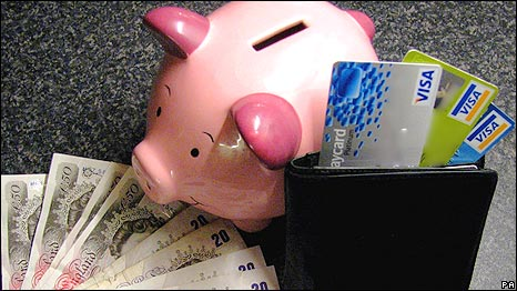 A wallet, some cash, credit cards and a piggy bank