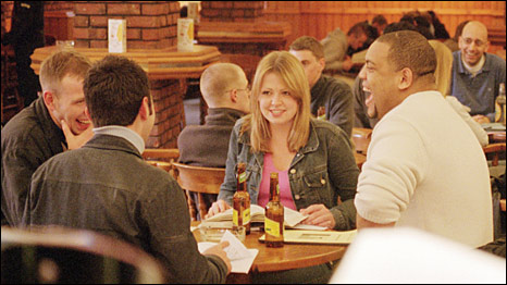 Students socialising in a pub