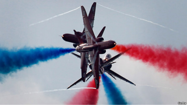 The Red Arrows perform an aerobatic display in Chatsworth, England.