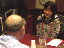 Rong Zhang being interviewed by Keith Dugdale