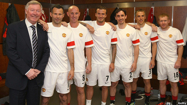 Sir Alex Ferguson and some of Manchester United players