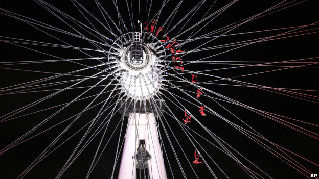 Dancers perform on the London Eye in London as part of London 2012 Olympic Festival