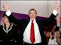 Tony Blair after winning the election