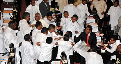 UNP MPs being assaulted in parliament