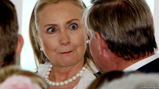 Hilary Clinton looking at Colin Barnett