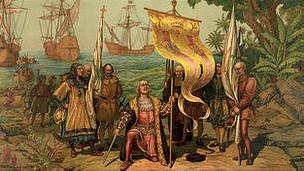Картина, изображающая высадку Колумба на берег