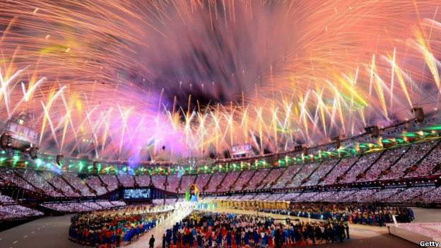 Fireworks over the Olympic stadium at the London 2012 closing ceremony.