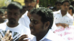 Student leader P Darshanan at a recent protest (file photo)