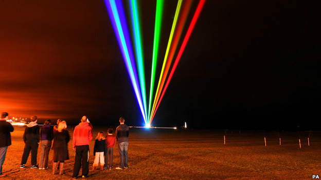 Artist Yvette Mattern's Global Rainbow lights up the North East coastline to herald the 2012 Olympic Games.