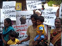 Realtives of LTTE detainees protest in front of Welikada prison (file photo)
