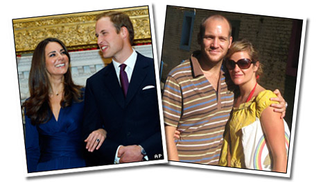 Two couples: Prince William and Kate Middleton and David and Jen