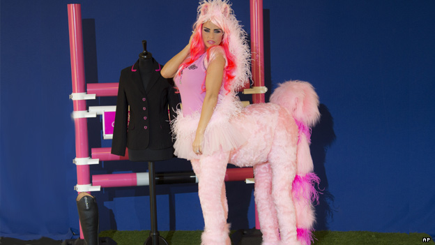 British model Katie Price dressed as a pink pony