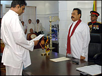 Champika Ranawaka swearing in as a minister (file photo by Sudath Silva)