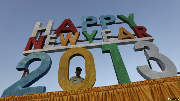 A sign which reads 'Happy New Year 2013'