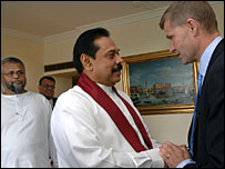 EPDP leader (Extreme left) with President Rajapaksa on a tour to Geneva