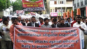 Lawyers protesting against threats to judiciary