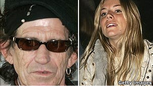 Keith Richards y Sienna Miller