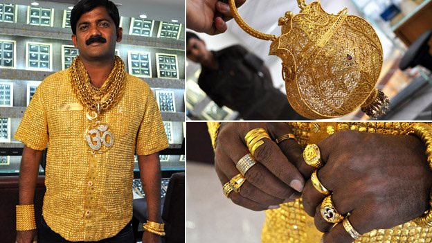 Indian man Datta Phuge in his gold shirt