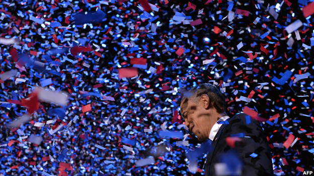 Barack Obama celebrates his victory in the US presidential election.
