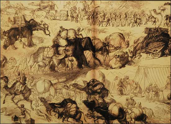 Army movements and transport in circa 1857. Elephants, camels, oxen, horses, mules, hauling cannon, carts, luggage, people over long distances. Pitched battles were fought - and this was no mutiny.  |  Image source and courtesy - bbc.co.uk  |  Click for image.