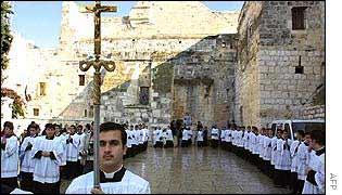 Procissão em Belém, cidade natal de Jesus Cristo