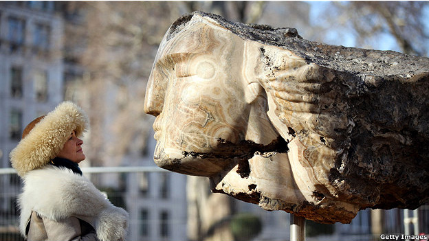 Large stone head sculpture