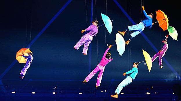 Artists perform with umbrellas during the Opening Ceremony of the London 2012 Paralympics.