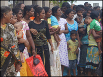 Relatives of those arrested in Jaffna in a protest (file photo)