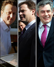 Nick Clegg, Gordon Brown, David Cameron