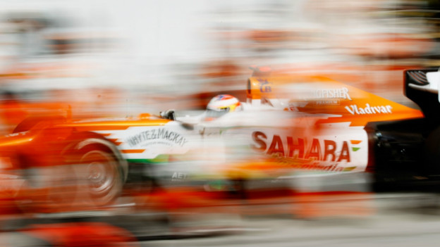 Paul di Resta of Great Britain drives in for a pitstop during the Bahrain Formula One Grand Prix