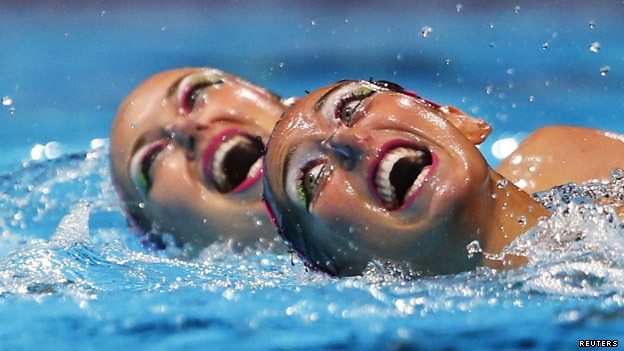 Synchronised swimmers performing