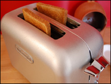 A toaster with toast in it