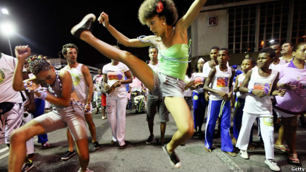 Brazilians performing capoeira in Salvador.