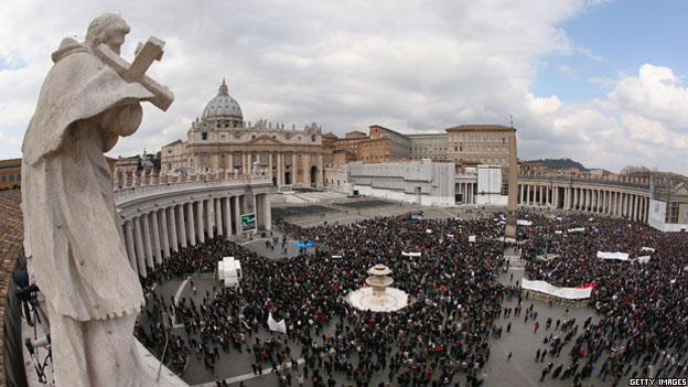 A general view of Saint Peter's square at the Vatican as Pope Benedict XVI celebrates a mass on Easter Sunday.
