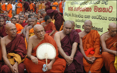 Ven Maduluwawe Sobitha Thero (2nd from left) in Adhishtana Pooja, Kandy