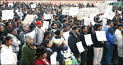 Tamil asylum seekers in UK holding a protest rally in Trafalgar Square, London (file photo by Action Group of Tamil Asylum Seekers -AGTAS)