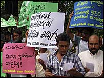 A JVP protest against election violence in Anuradhapura (Library photo by Athula Bandara)