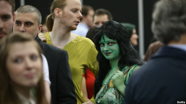 Fans of Star Trek attend a convention in London.